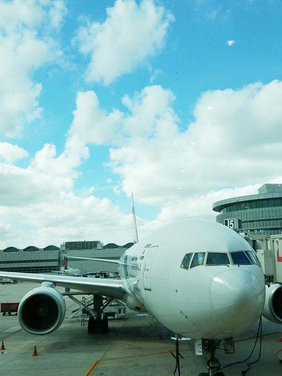 מטוס מסחרי מחובר לשרוול